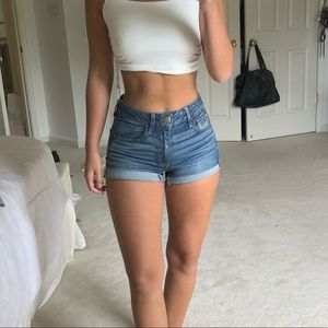American Eagle High Rise Stretch Denim Shorts